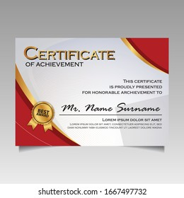 creative certificate of appreciation award template with red curves and golden shapes and badge