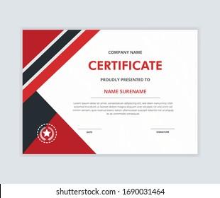 Creative certificate of appreciation award template with elegant shape. Diploma vector template
