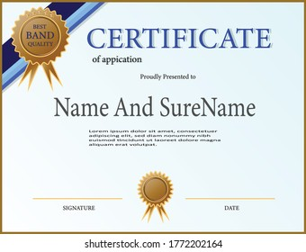 creative certificate of appreciation award template with blue and golden