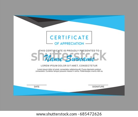 creative certificate appreciation award template blue stock vector