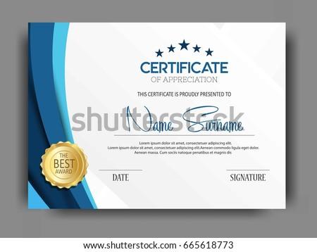 Creative Certificate Template Clean Modern Pattern Vector Stock