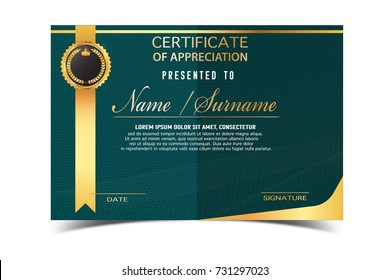 creative certificate  template for completion award   with golden shapes and badge.Clean and modern for diploma, official or different awards.Vector illustration