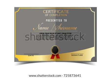 Creative Certificate Template Completion Award Golden Stock Vector