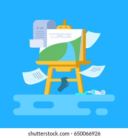 Creative chaos. Vector illustration of easel. Flat style. Unfinished picture.Scattered objects everywhere