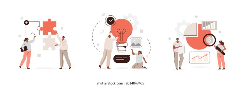 Creative characters and their business activity. People connecting puzzle pieces, generating new ideas, analyzing corporate data. Flat cartoon vector illustration and icons set.