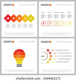 Creative chart set for startup or new launch concept. Can be used for business project, annual report, web design, presentation slide templates. Step diagram, process, lightbulb, workflow