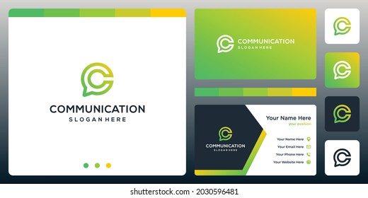 Creative Chat Logo and letter logo C. business card design.