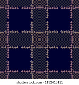 Creative checkered hounds tooth print for suits and coats. Seamless vector pattern with brown geometric elements on dark background. Textile design with English motifs. Autumn collection.