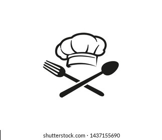Creative Chef Hat Spoon Fork logo Vector Symbol Design Illustration