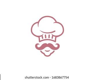 Creative Chef Head Moustache Logo Symbol Vector Illustration