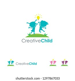 Creative Child Logo template, Kids Bring Idea logo