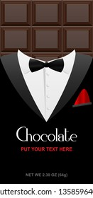 Creative chocolate bar packaging. Elegant product branding template with label pattern for packaging. Editable vector packaging template with black tuxedo and bow tie.