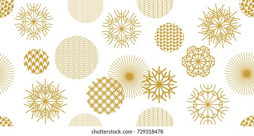 Creative Christmas seamless pattern with geometric motifs. Snowflakes and circles with different ornaments. Retro textile collection. On white background.