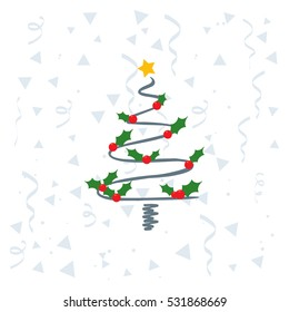Creative Christmas tree with holy leaf on Cofetti background
