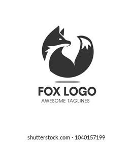 Creative Circle Fox Logo Vector Round Template