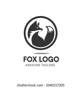 Creative circle fox logo vector, Round Fox Logo Template