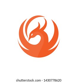 creative circle phoenix bird logo design