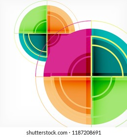 Creative circles geometric abstract background with 3d effect, vector trendy template