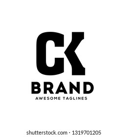 creative CK letter monogram strong and bold  logo vector concept