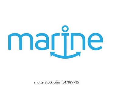 Creative and Classic Typographic Marine Logo Icon Emblem as Smile with Anchor