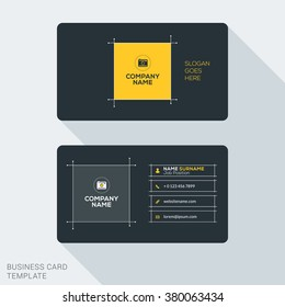 Creative and Clean Business Card Template. Flat Design Vector Illustration. Stationery Design