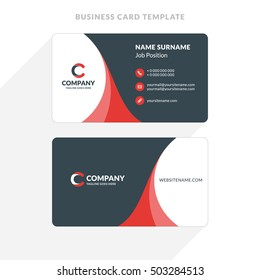 Creative and Clean Double-sided Business Card Template. Red and Black Colors. Flat Design Vector Illustration. Stationery Design