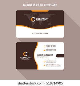 Creative and Clean Double-sided Business Card Template. Orange and Brown Colors. Flat Design Vector Illustration. Stationery Design