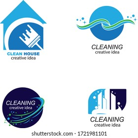 Creative Cleaning Concept Logo Design Template