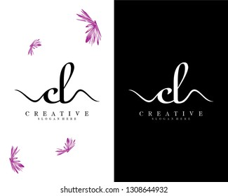 creative cl/lc logo design vector
