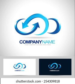 Creative Cloud Logo Design. Creative Vector icon of a blue cloud with arrows.