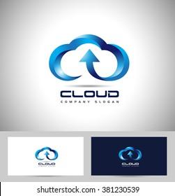 Creative Cloud Logo. Cloud Storage Vector Logo.Creative  Abstract cloud vector logo with arrow