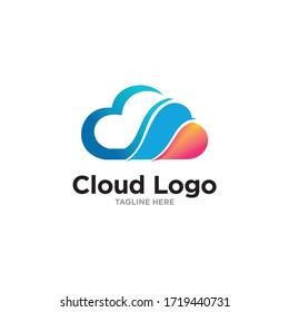 creative cloud technology logo template