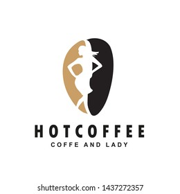 Creative coffee bean and woman / lady / girl  logo design illustration. flat vector style