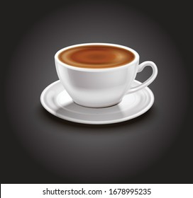 creative coffee cup with saucer vector illustration