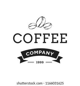 Creative Coffee Shop Concept Logo Design Template, Black and White