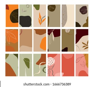 Creative collage templates with leaves for media frame. Set of simple social print for media frame. Creative minimal templates for story with abstract pastel colorful shapes, scribble.