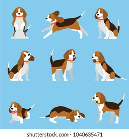 Creative collection with cute beagle dog . Vector illustrations with funny puppy  in different poses. Lovely pet concept.