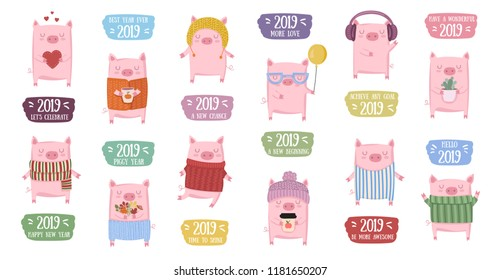 Creative collection of cute pigs for New 2019 Year. Symbol of the year in the Chinese calendar. Vector illustration cartoon isolated. Year of yellow pig.