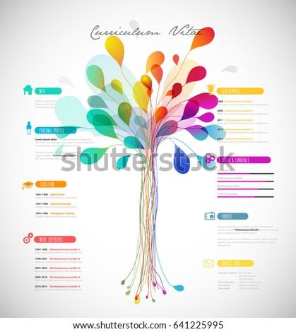 creative color rich cv resume template stock vector royalty free