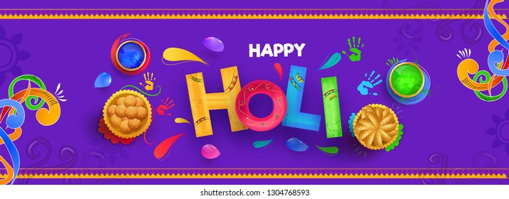 Creative color text holi with top view illustration of Indian sweets and color bowls on purple background for Festival Of Colors celebration.