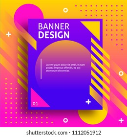 Creative colored banner with modern shapes