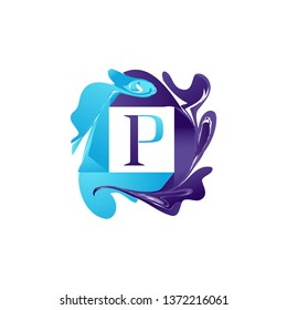 Creative colorful Abstrat initial letter  P vector template logo design