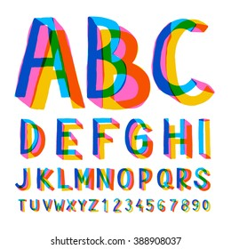 Creative colorful alphabet and numbers, vector illustration.