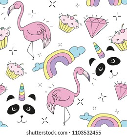 Creative colorful art drawing seamless endless repeating pattern texture with elements like pandicorn, pineapple, rainbow, cupcake