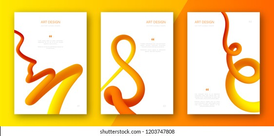 Creative colorful cover set. Trendy abstract design flyers with fluid yellow-orange gradient shapes. Abstract curved forms