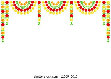 Creative and colorful design of decorative toran made up of marigold flowers.