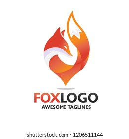 creative colorful Fox point modern logo vector concept element