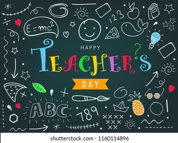 Creative Colorful Hand Drawn Doodle Set of Objects on Dark Background for Happy Teacher's Day Celebration.