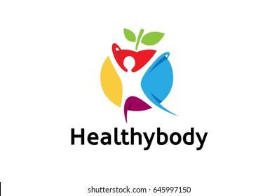 Creative Colorful Healthy Spiritual Body Logo Design Symbol Vector Illustration