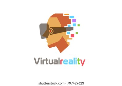 Creative Colorful Helmet Head Digital Movies Video Watch Logo Design Colorful Symbol Illustration